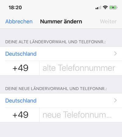 Telefonnummer Ändern iphone