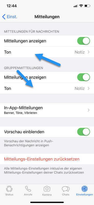 Benachrichtigungston iPhone